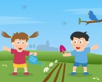 从事园艺的孩子二 免版税库存照片