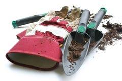 从事园艺的手套使用的工作 免版税图库摄影