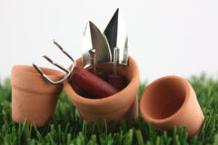 从事园艺的罐工具 免版税库存照片