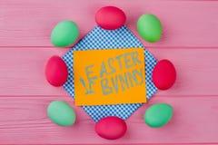 从五颜六色的复活节彩蛋的框架 免版税图库摄影