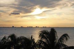 从伊斯拉看的日落穆赫雷斯岛 免版税库存照片