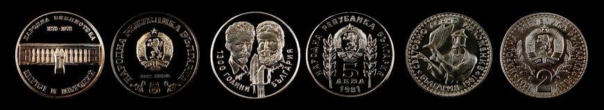 从保加利亚的纪念硬币列弗 免版税库存图片
