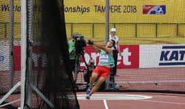 从保加利亚的VALENTIN安德列耶夫在国际田联世界U20冠军坦佩雷,芬兰2018年7月11日的掷链球事件的, 库存图片