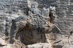 从保加利亚第一帝国的期间,联合国科教文组织世界遗产名录名单,保加利亚的中世纪岩石安心马达拉骑士浮雕 免版税库存照片