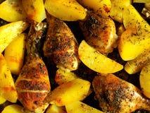 从关闭的烤土豆  免版税库存照片