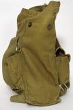从军队防毒面具的旧布袋子 免版税库存照片