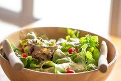 从农场的新鲜的水耕的菜沙拉在木选项的碗的 库存图片