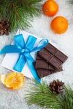 从冬天森林的圣诞节背景 免版税库存照片