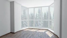 从凸出的三面窗的看法在降雪的明亮的屋子里在背景冬天森林背景板材,色度关键录影 股票视频