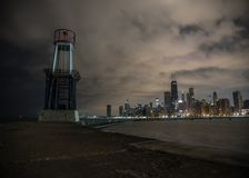 从北部Ave海滩的芝加哥地平线 免版税库存图片