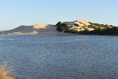 从南非的最大的沙丘在星期天河附近在Addo大象附近的科尔切斯特停放 库存照片