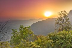 从博克拉尼泊尔的美好的日出视图 免版税库存照片