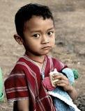 从卡伦部落的一个男孩在泰国 免版税库存图片
