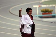 从卡塔尔的Hamza Driouch庆祝赢取 库存图片