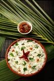 从印地安烹调的自创鲜美凝乳米 库存图片