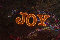 从发光圣诞节明亮的电灯泡的光的光亮的喜悦文本新 库存照片