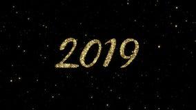 从发光的金微粒的2019个数字在假日赋予生命的新年快乐背景形成了 影视素材