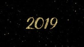 从发光的金微粒的2019个数字在假日赋予生命的新年快乐背景形成了 向量例证