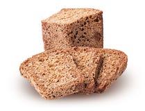 从发芽的五谷切成两半的和切片的健康面包 库存照片