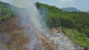 从受控火的烟在高地的路上上升 股票录像