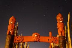 从古老新西兰毛利人站点的Pouwhenua 库存照片