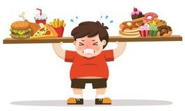 从吃速食的男孩不健康的身体 库存例证