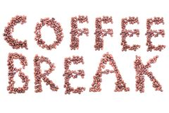 从咖啡豆的1个字母表 查出在白色 库存照片