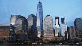 从哈得逊河的纽约地平线 免版税库存照片