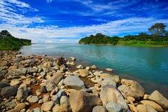 从哥斯达黎加的美好的河风景 河回归线森林石头的里约Baru在河 在河结构树之上 夏天 免版税库存照片