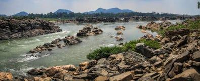 从唐Khon, Si帕纳唐,占巴塞省,老挝的湄公河 图库摄影