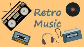 从唱片、老葡萄酒减速火箭的行家电影音乐第一个球员和录音磁带记录器的海报听的卡型盒式录音机的 向量例证