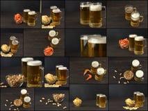 从啤酒和快餐在黑暗的桌上,啤酒食物拼贴画照片的拼贴画  图库摄影