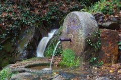 从喷泉出来的自然水 免版税库存照片