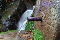 从喷泉出来的自然水 免版税图库摄影