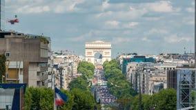 从喷泉的看法在弧de Triumph timelapse的国防产业区,巴黎,法国 股票录像