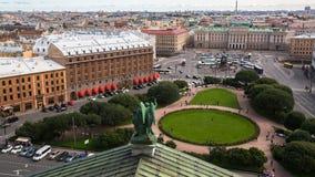 从圣以撒` s大教堂的顶视图在圣彼德堡,俄罗斯 结构 库存图片