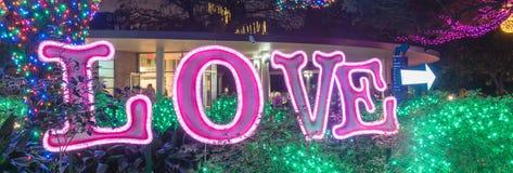 从圣诞节发光的ne明亮的电灯泡光的光亮的爱文本  免版税图库摄影