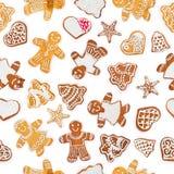 从圣诞节姜饼和甜曲奇饼的无缝的样式正方形形状 库存图片