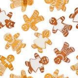 从圣诞节姜饼和甜曲奇饼的无缝的样式正方形形状 图库摄影