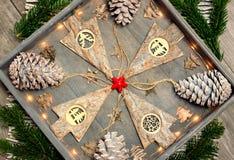 从圣诞节装饰、样式和设计观念的背景 库存照片
