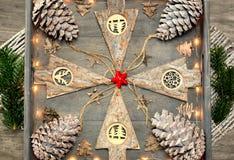 从圣诞节装饰、样式和设计观念的背景 库存图片