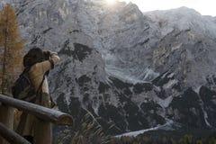从在山的一个峰顶 免版税图库摄影