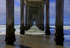从在斯克里普斯码头下的看法 库存图片