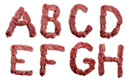 从在白色背景隔绝的新鲜的肉的字母表 库存图片