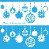从在蓝色的纸cutted的圣诞快乐球 库存例证