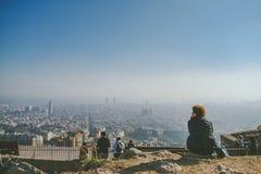 从地堡del Carmel全景,巴塞罗那的Viw 免版税库存照片
