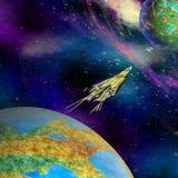 从地球开始的航天器在一个未知的行星 免版税库存照片