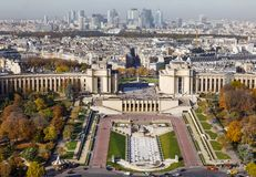 从埃佛尔铁塔的鸟瞰图在巴黎 库存照片