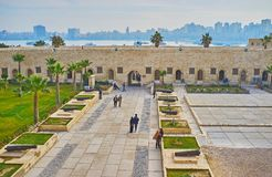 从城堡墙壁的看法,亚历山大,埃及 图库摄影
