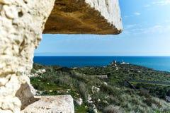 从城堡的窗口的海视图 图库摄影